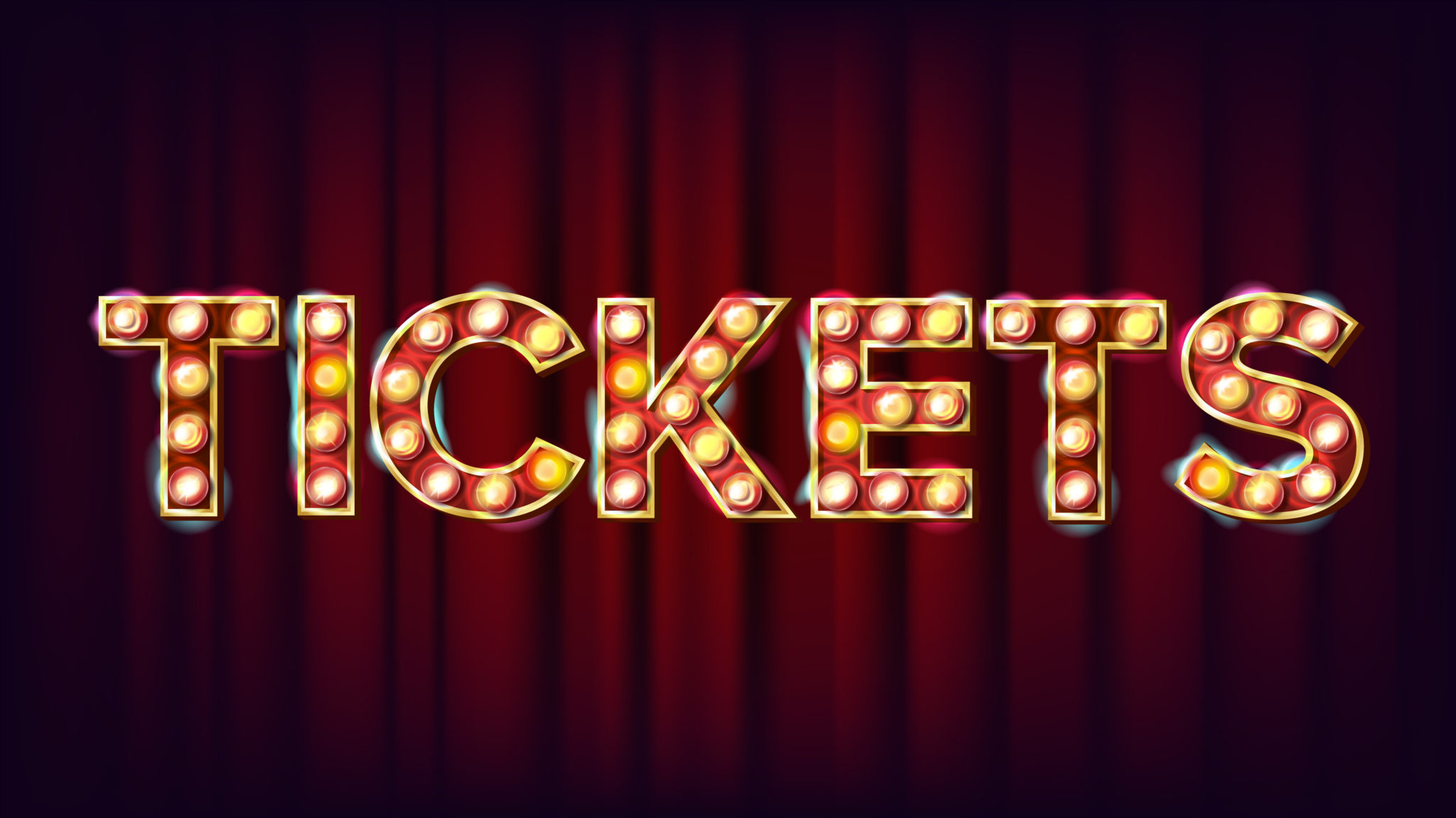 Tickets Banner Sign Vector. For Arts Festival Events Design. Circus Vintage Golden Illuminated Neon Light. Illustration