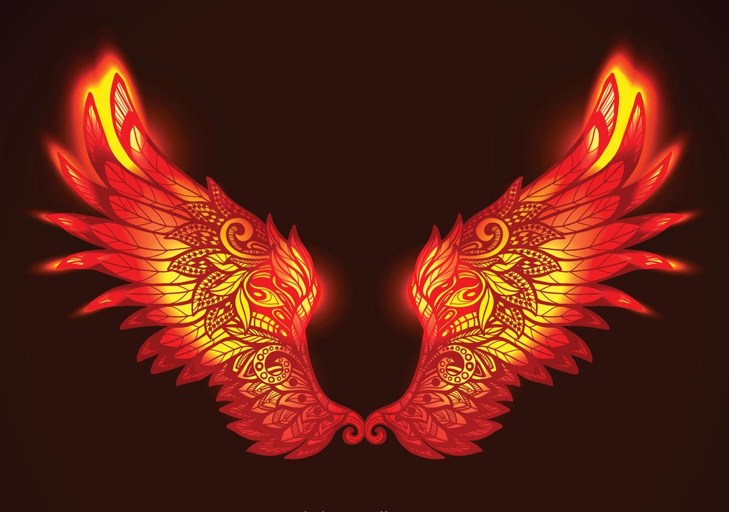 Red and yellow bright glowing ornamental wings in fire hand drawn vector illustration